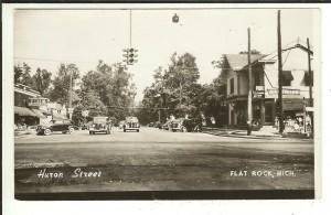 MICH RPPC Huron Street Flat Rock Michigan Real Photo Postcard